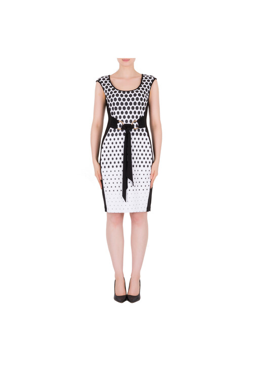 Joseph Ribkoff Black & White Belt Detail Classic Dress