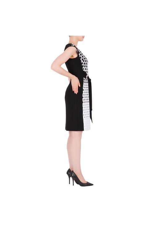 Joseph Ribkoff Black & White Belt Detail Classic Dress