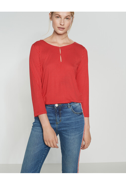 Opus True Red Shirt with print Saskia Polka Dot