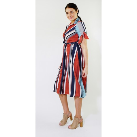 Kilky Paris Navy & Orange Strip Long Button Dress