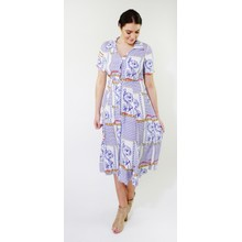 Kilky Paris Blue & White Chain Pattern Button Long Dress