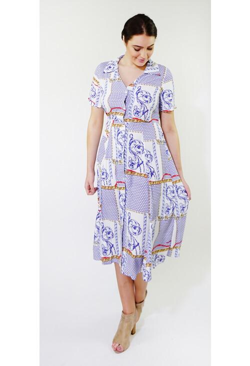 Kilky Paris Blue & White Chain Pattern Button Long Dress
