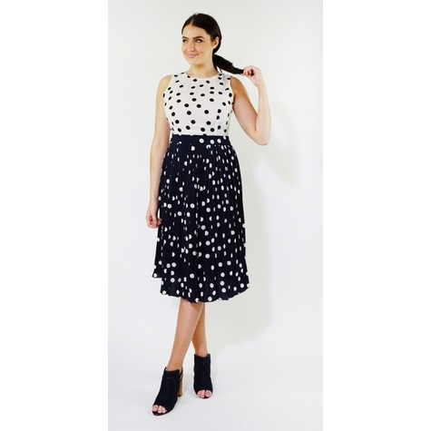 Kilky Paris Off White & Navy Two Tone Polka Dot Dress