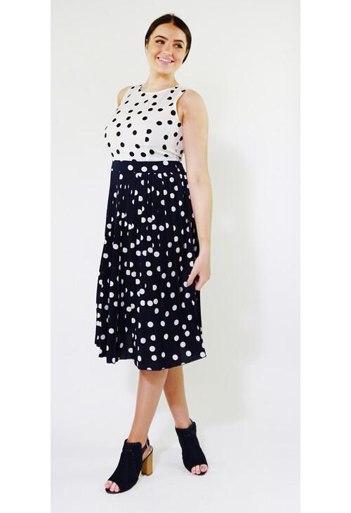 Kilky Paris Off White & Navy Two Tone Polka Dot Dress