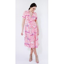 Kilky Paris Coral & White Chain Print Pattern Long Button Dress