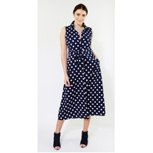 Kilky Paris Navy & Off White Polka Dot Long Dress