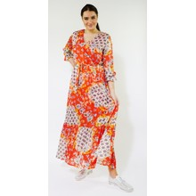 Kilky Paris Orange, White & Blue Floral Print Long Dress