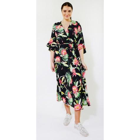Kilky Paris Black & Green Tropical Floral Print Long Dress