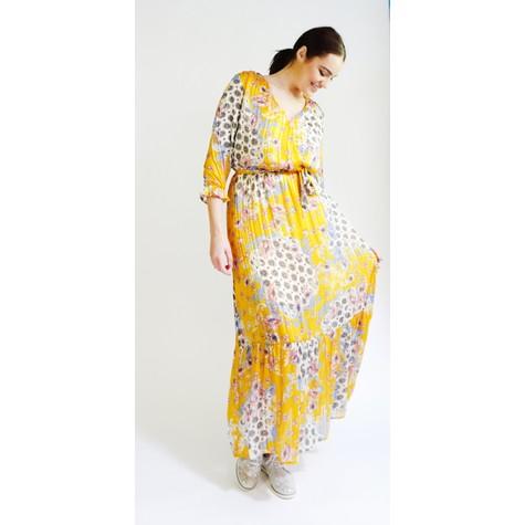Kilky Paris Jaune, Blue & White Pattern Print Long Dress