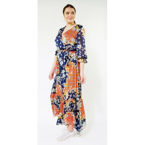 Kilky Paris Marine, Yellow & Coral Pattern Print Long Dress