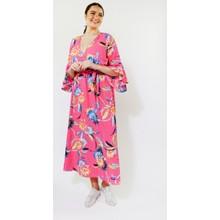 Kilky Paris Fushia, Blue & Green Floral Print Long Dress