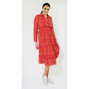 Kilky Paris Red & Navy Floral Print Collar Long Dress