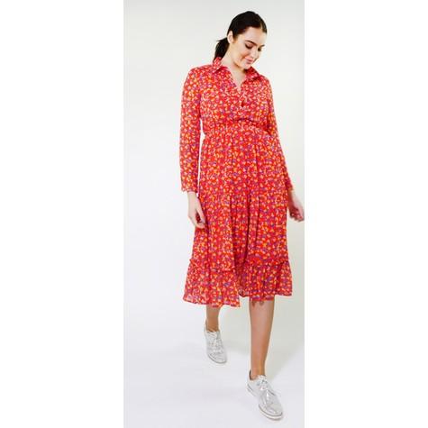 Kilky Paris Red & Navy Floral Print Collar Long Dress