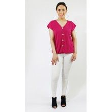 SophieB Fushia Lurex Button Up Top