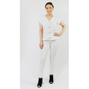 SophieB White Lurex Button Up Top
