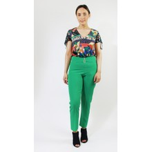 Zapara Emerald Green Buckle Detail Trousers