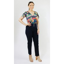 Zapara Navy Buckle Detail Trousers
