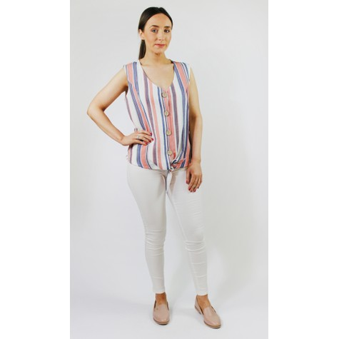 SophieB Blue & Coral Stripe Button Top