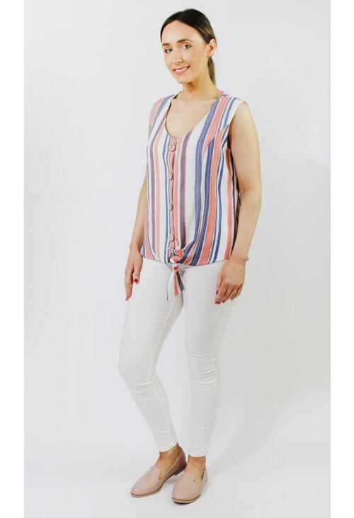 Sophie B Blue & Coral Stripe Button Top