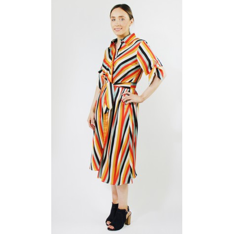 Pamela Scott Multi-colour Stripe Collar Dress