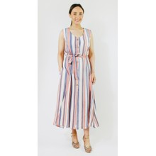 SophieB Coral & Blue Stripe Button Dress
