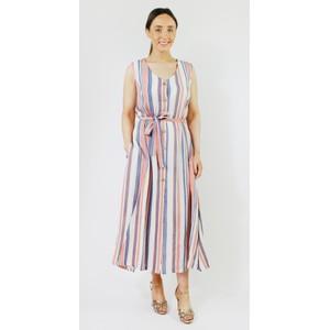 SophieB Coral & Blue Stripe Button Dress