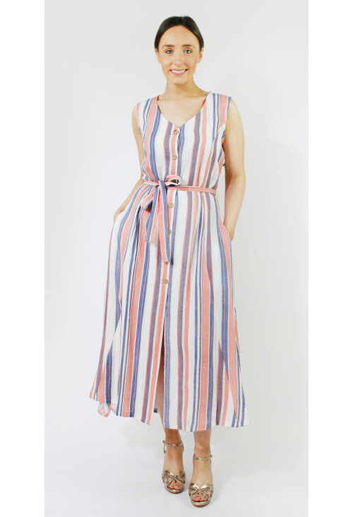 Sophie B Coral & Blue Stripe Button Dress