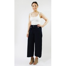 Zapara Navy White Pin Stripe Wide Leg Trousers
