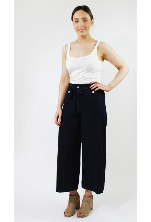 Zapara Navy White Pin Stripe Wide Leg Trousers