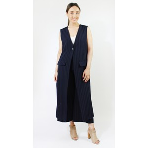 Zapara Navy White Spin Stripe Sleeveless Jacket