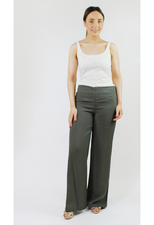Sophie B Khaki Buckle Detail Loose Trousers