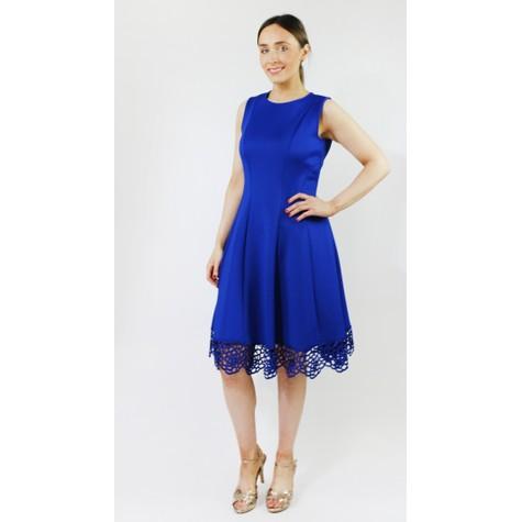 Donna Ricco Colbolt Lace Hem Detail Dress