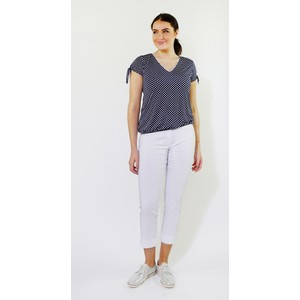 Zapara Navy White Spot V-Neck Top