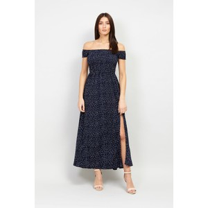 Stella Morgan Navy Slim Front White Polka Print Dress