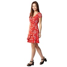 Pamela Scott Red & White Floral Print Short Frill Dress