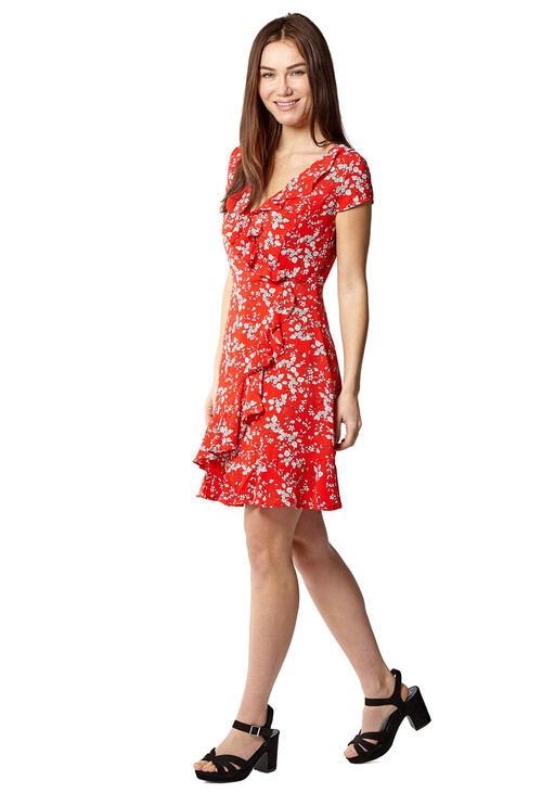 Pamela Scott Red & White Floral Print Short Frill Dress