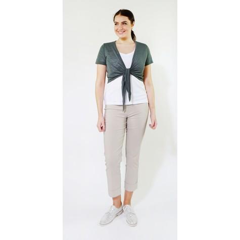 SophieB Khaki Tie Front Top