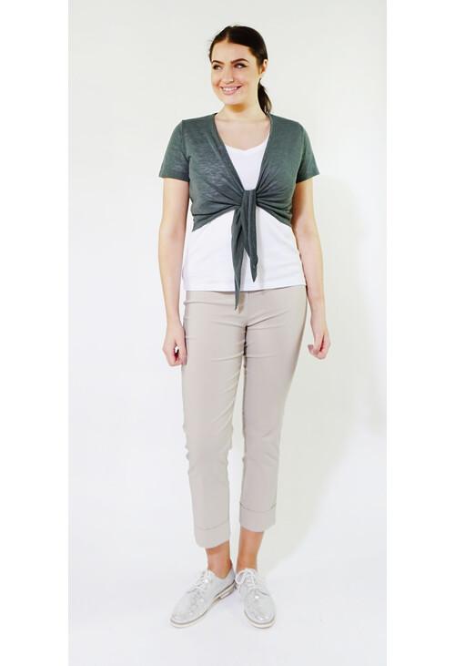 Sophie B Khaki Tie Front Top