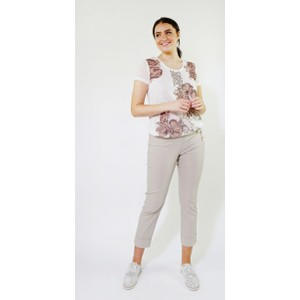 SophieB Off White Flower Print & Sequence Detail Top
