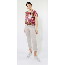 SophieB Khaki & Coral Palm Design Top