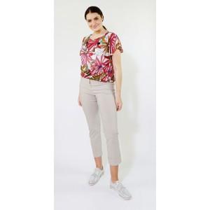SophieB Khaki & Coral Palm Design Top