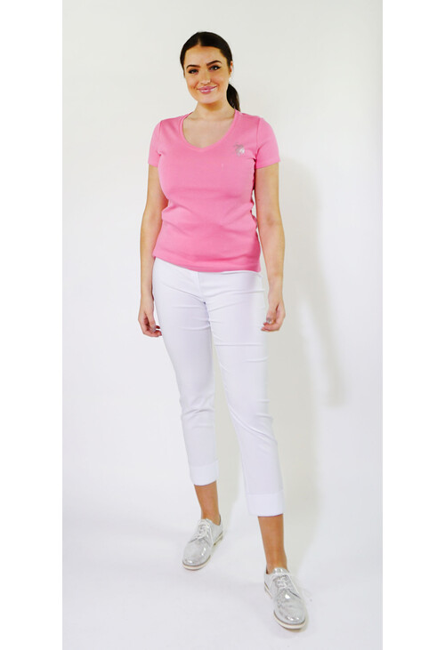 Twist V-Neck Candy Diamante Pony Logo Detail Top