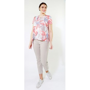SophieB Coral & Off White Light Leaf Print Top