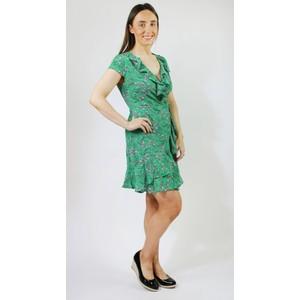 Stella Morgan Green White Floral Print Frill Dress
