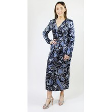 Pamela Scott Navy Lovita Print Long Button Dress