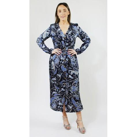Pamela Scott Navy Lovita Print Long Button Dress