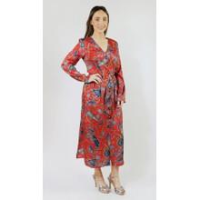 Pamela Scott Red & Aqua Paisley Print Button Dress