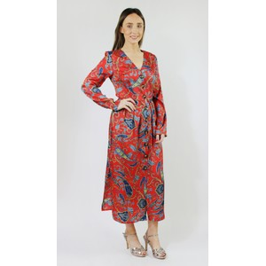 05c7d7ad17e Pamela Scott Red   Aqua Paisley Print Button Dress
