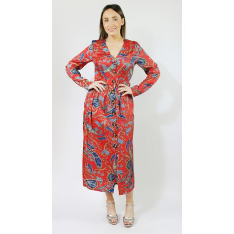 Pamela Scott Red & Aqua Paisley Print Button Dress