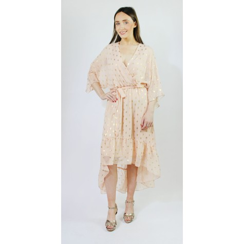 Pamela Scott Peach & Gold Metallic Spot Print Dress